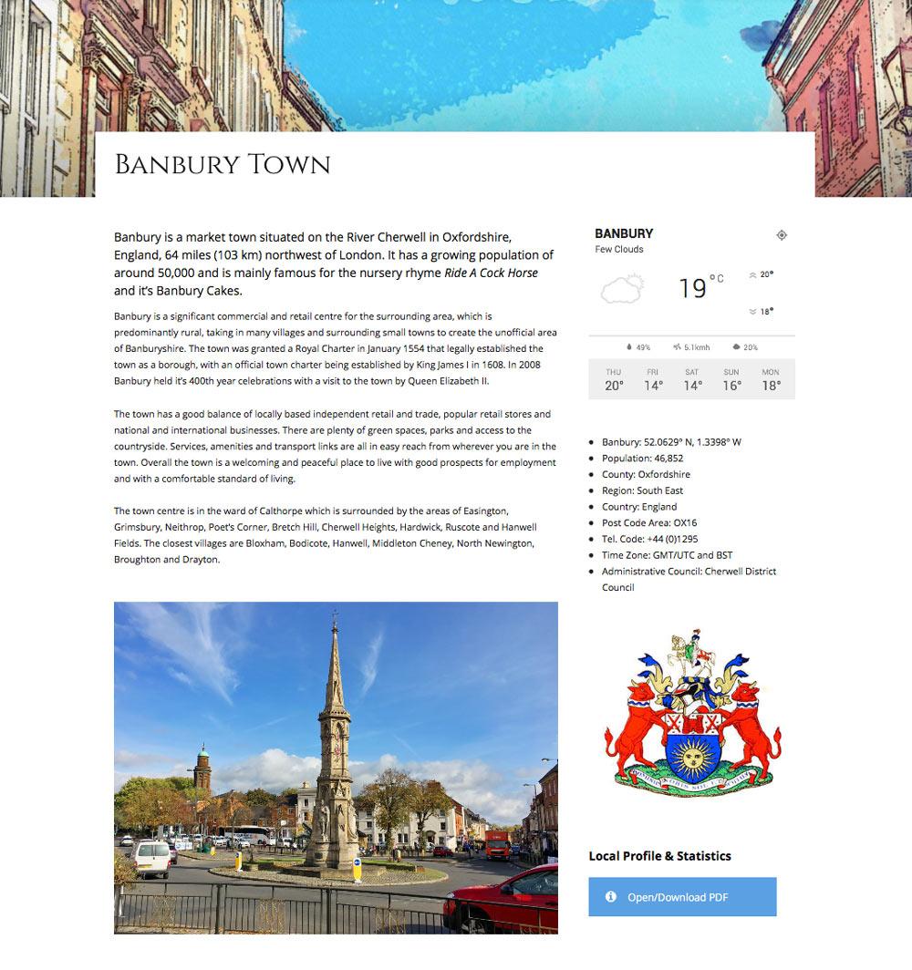 Banburyshire Website Page Example 1